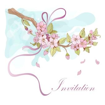 Illustrazione di ciliegio sakura con parola di invito
