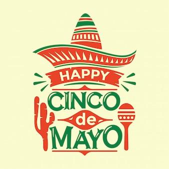Illustrazione di cinco de mayo con il cappello del sombrero di maracas del cactus e testo dell'iscrizione