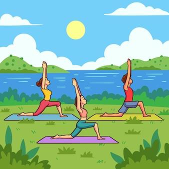 Illustrazione di classe di yoga all'aperto design piatto