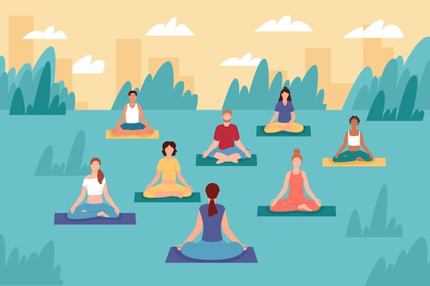 Illustrazione di classe di yoga all'aperto