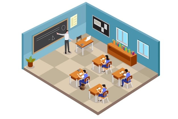 Illustrazione di classe isometrica con studenti e insegnante