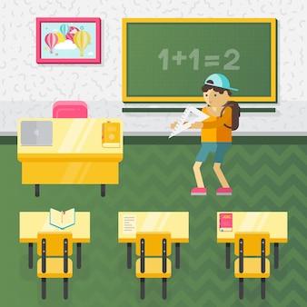 Illustrazione di classe scuola stile piano vettoriale