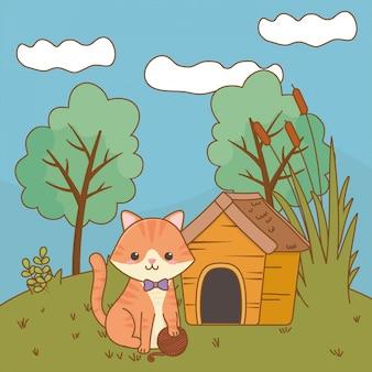Illustrazione di clipart del fumetto del gatto