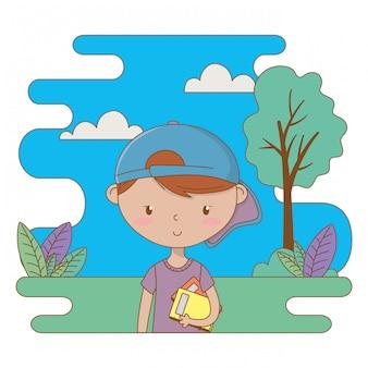 Illustrazione di clipart del fumetto del ragazzo dell'adolescente