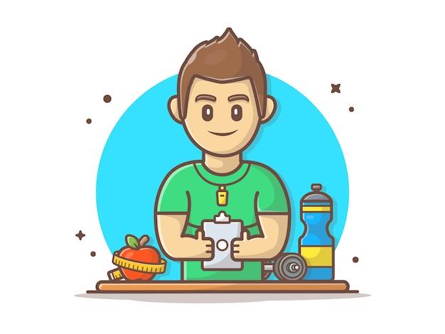 Illustrazione di clipart di vettore dell'istruttore di forma fisica e della palestra