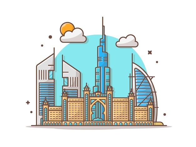 Illustrazione di clipart di vettore dell'orizzonte della città dubai