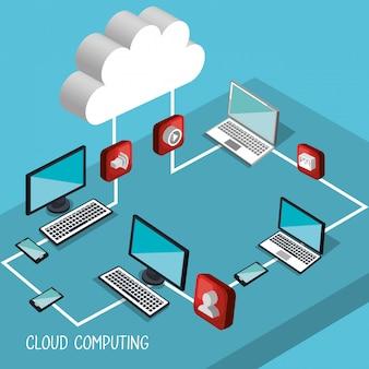 Illustrazione di cloud computing