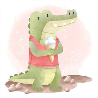 Illustrazione di coccodrillo simpatico cartone animato