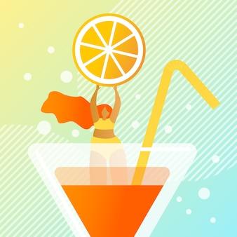 Illustrazione di cocktail estate succosa fresca.