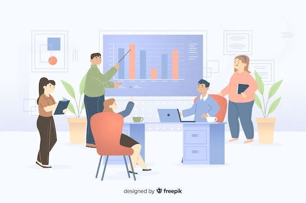 Illustrazione di colleghi che lavorano insieme