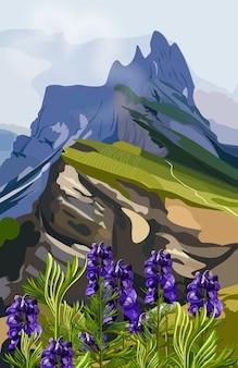 Illustrazione di colline di lavanda e montagne