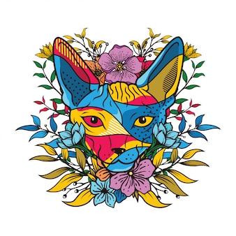 Illustrazione di colore creativo di una testa di gatto con elemento floreale