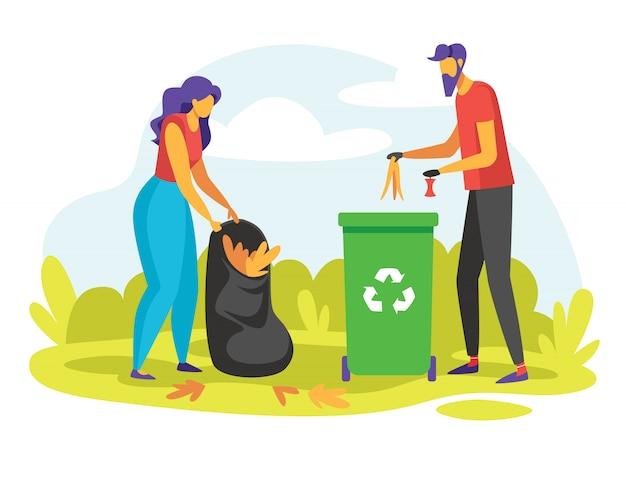 Illustrazione di colore di persone che raccolgono spazzatura all'aperto.