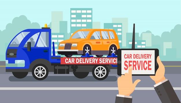 Illustrazione di colore di vettore di affari di consegna dell'automobile
