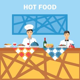 Illustrazione di colore di vettore piano di servizio di ristorazione