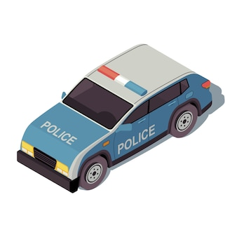 Illustrazione di colore isometrica del volante della polizia. infografica del trasporto urbano.