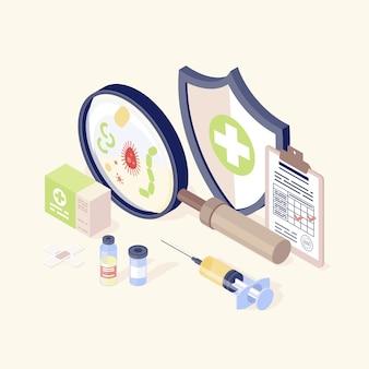 Illustrazione di colore isometrica dell'attrezzatura di vaccinazione. assistenza sanitaria, immunizzazione. prevenzione delle malattie e promozione della salute. registrazioni di vaccinazione, fiala e siringa, virus, lente d'ingrandimento concetto 3d