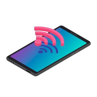 Illustrazione di colore isometrica della connessione internet senza fili di smartphone.