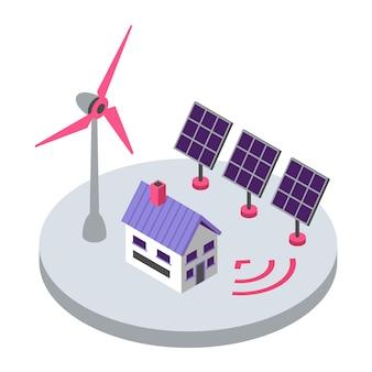 Illustrazione di colore isometrica di energia rinnovabile. fonte di energia elettrica ecologica. concetto senza fili domestico astuto del telecomando 3d del mulino a vento e del pannello solare isolato su fondo bianco