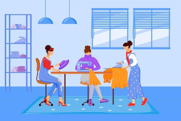 Illustrazione di colore piana dell'atelier degli stilisti. creazione di abbigliamento fatto a mano in officina. i vestiti di cucito, di riparazione e di stiratura nello studio del sarto hanno isolato i personaggi dei cartoni animati su fondo blu