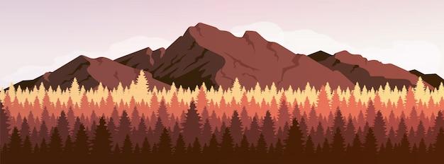 Illustrazione di colore piana della foresta di conifere e della montagna
