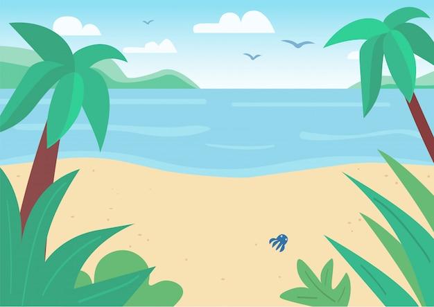 Illustrazione di colore piana tropicale della spiaggia e del mare di sabbia