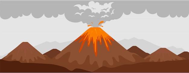 Illustrazione di colore piatto di eruzione del vulcano