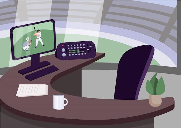 Illustrazione di colore sul posto di lavoro del commentatore di sport