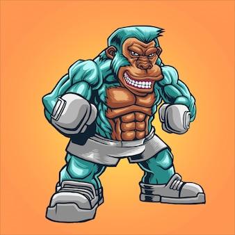 Illustrazione di combattente boxe scimmia
