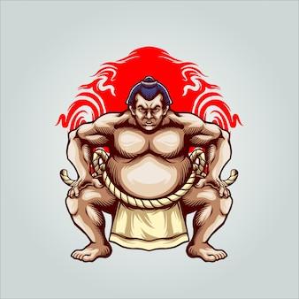 Illustrazione di combattente di sumo