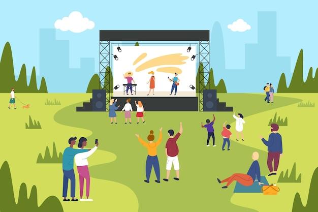 Illustrazione di concerto all'aperto