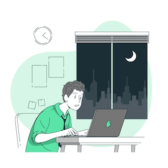 Illustrazione di concetto a tarda notte