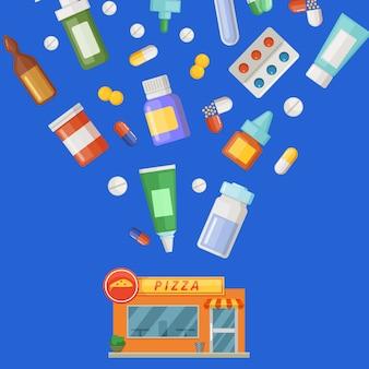 Illustrazione di concetto con medicine, pozioni e pillole che volano dalla costruzione della farmacia