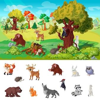 Illustrazione di concetto del carattere degli animali del terreno boscoso