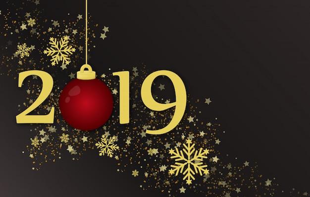 Illustrazione di concetto del fondo di festa del nuovo anno 2019 e di buon natale.