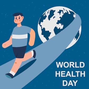 Illustrazione di concetto del fumetto di giornata mondiale della salute con un uomo corrente e un pianeta terra.