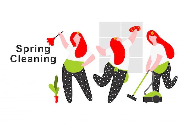 Illustrazione di concetto del fumetto di pulizie di primavera con il carattere della donna isolato su un fondo bianco.