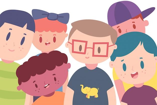 Illustrazione di concetto del fumetto di vettore di amicizia con i bambini felici isolati