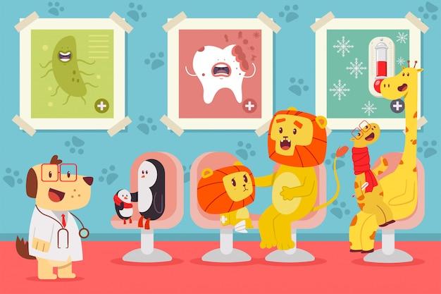 Illustrazione di concetto del fumetto di vettore di pediatria con gli animali svegli.