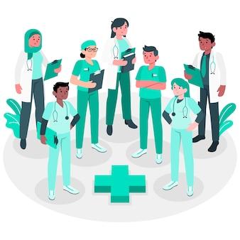 Illustrazione di concetto del gruppo di professionisti della salute