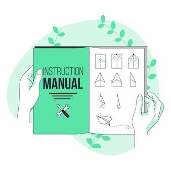 Illustrazione di concetto del manuale di istruzioni