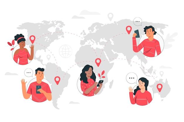 Illustrazione di concetto del mondo online