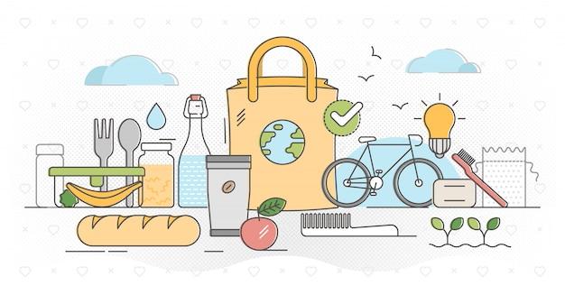 Illustrazione di concetto del profilo zero rifiuti