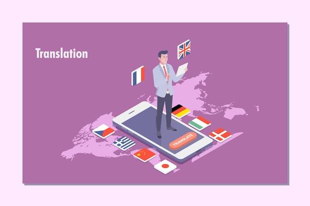 Illustrazione di concetto del traduttore multi lingua