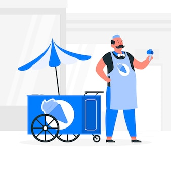 Illustrazione di concetto del venditore del gelato