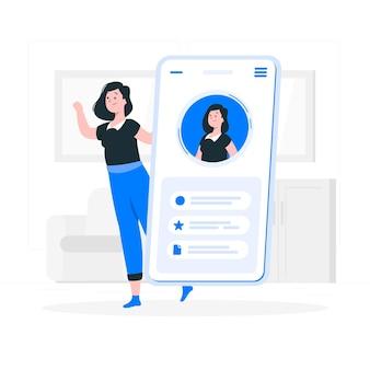 Illustrazione di concetto dell'interfaccia di profilo