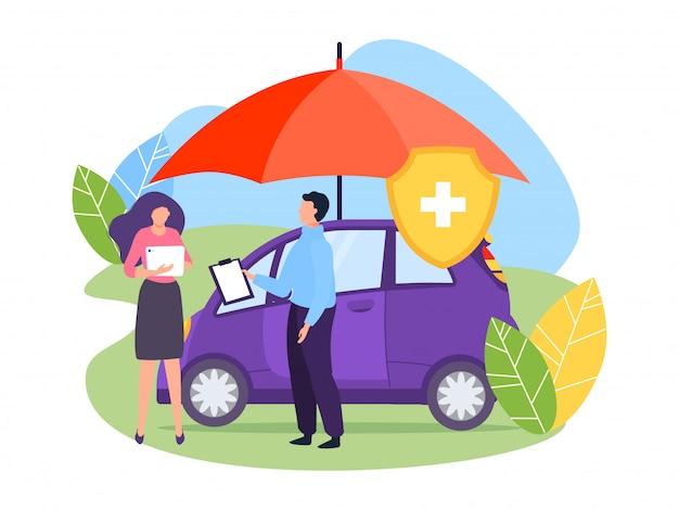 Illustrazione di concetto dell'ombrello di protezione dell'assicurazione auto. il personaggio agente contiene un documento che conferma l'accordo di conclusione.