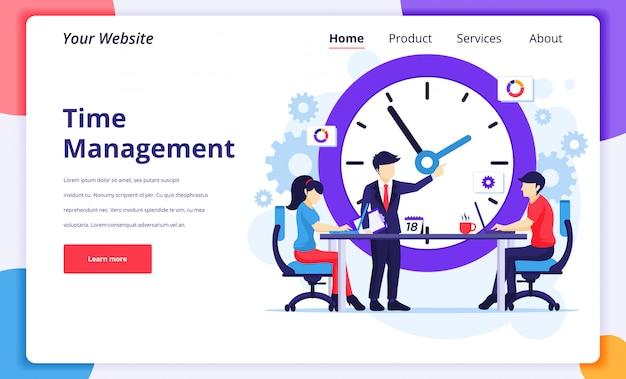 Illustrazione di concetto della gestione di tempo, la gente sulla riunione che programma un programma di lavoro per la pagina di destinazione del sito web