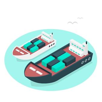 Illustrazione di concetto della nave porta-container
