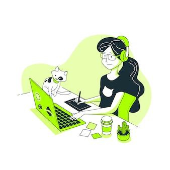 Illustrazione di concetto della ragazza del progettista